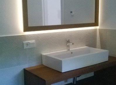 Bathroom furniture mirror illuminated