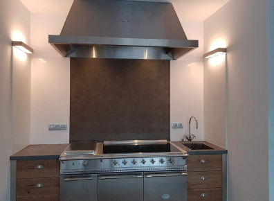 Kitchen beam oak stainless steel