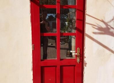 Kitchen entrance door red